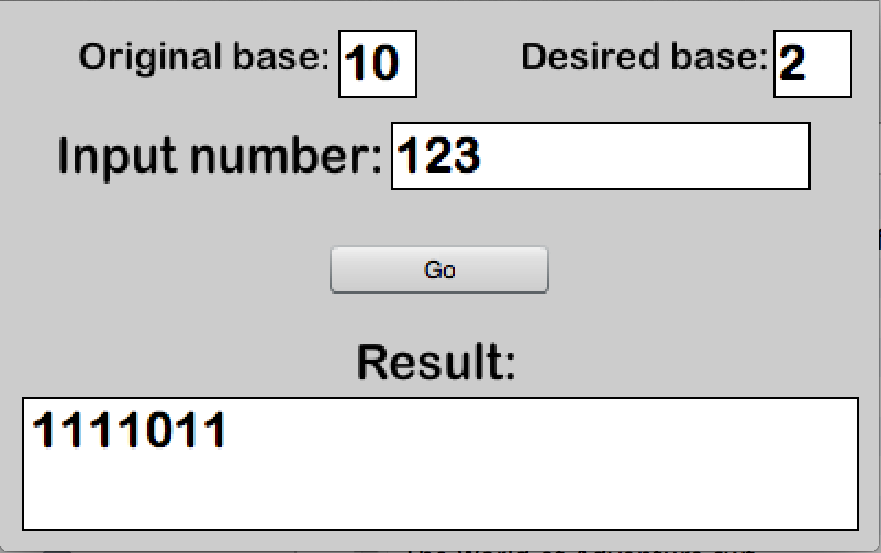 Base converter screenshot